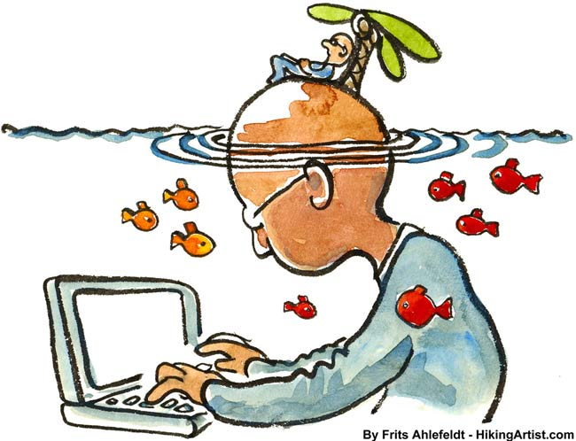illustration of man under water typing on a computer, how to make your own media