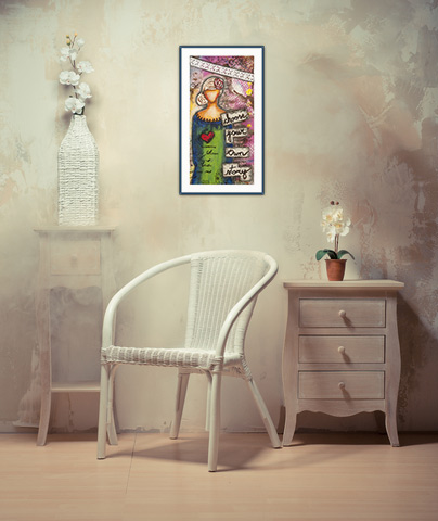 framed artwork on wall and beige furniture, framed prints