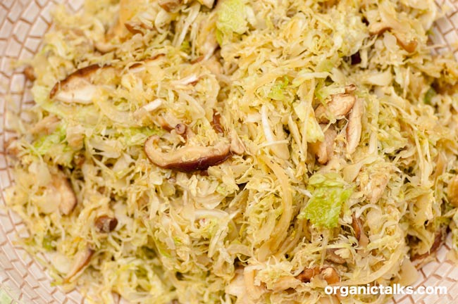 Savoy cabbage Shiitake mushroom salad, Stanka Vukelic, recipe for Savoy cabbage
