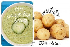 cucumber soup and raw potatoes, raw food eating