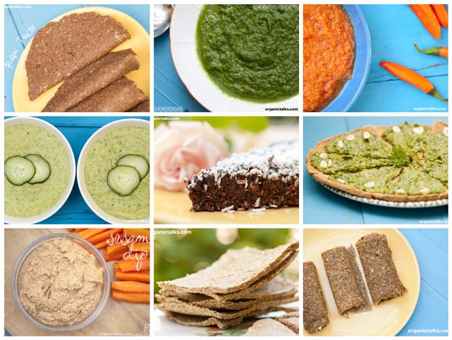 nine dishes of raw food, raw food eating