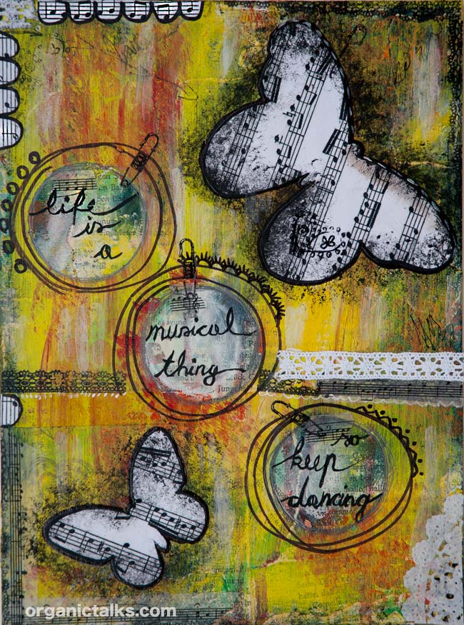 mixed media painting with quote life is a musical thing, stanka vukelic, alan watts