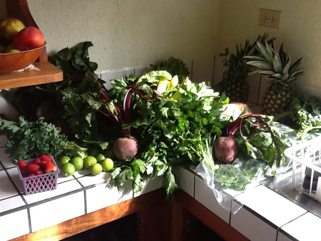 table with lots of leafy greens, raw foods diet