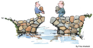 illustration of two man approaching on a stone bridge each carrying a stone which fit to finalize the bridge, how to be yourself
