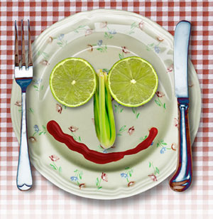 plate with smile made from fruits and veggies, how to be yourself