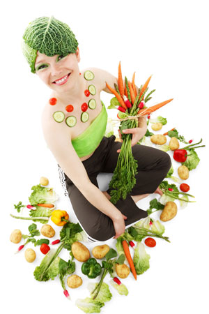 woman decorated with veggies, how to be yourself
